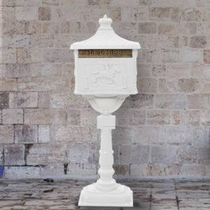 Caixa correio pedestal vintage alumínio inoxidável branco - PORTES GRÁTIS
