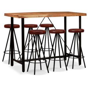 Conjunto de bar 7 pcs madeira sheesham maciça e couro genuíno - PORTES GRÁTIS