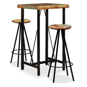 Conjunto de bar 3 pcs madeira recuperada maciça - PORTES GRÁTIS