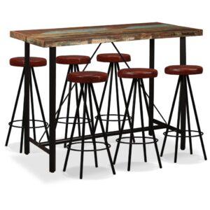 Conjunto de bar 7 pcs madeira recuperada maciça e couro genuíno - PORTES GRÁTIS