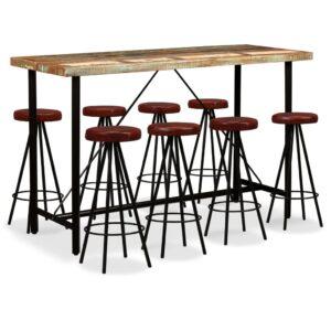 Conjunto de bar 9 pcs madeira recuperada maciça e couro genuíno - PORTES GRÁTIS