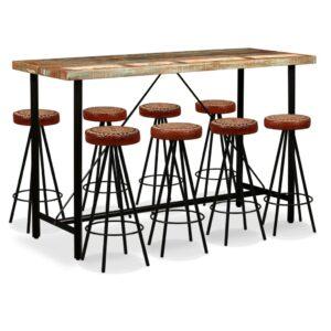 Conjunto de bar 9 pcs madeira recuperada, couro genuíno e lona - PORTES GRÁTIS