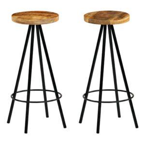 Cadeiras de bar 2 pcs madeira de mangueira maciça 30x30x76 cm - PORTES GRÁTIS