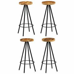 Cadeiras de bar 4 pcs madeira de mangueira maciça 30x30x76 cm - PORTES GRÁTIS