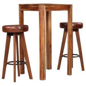 Conjunto de bar 3 pcs madeira sheesham maciça e couro genuíno - PORTES GRÁTIS