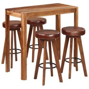 Conjunto de bar 5 pcs madeira de sheesham maciça 115x56x107 cm - PORTES GRÁTIS