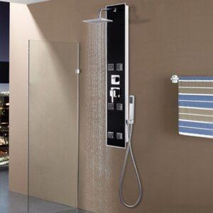 Coluna de duche em vidro 18x42,1x120 cm preto - PORTES GRÁTIS