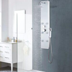 Coluna de duche em vidro 25x44,6x130 cm branco - PORTES GRÁTIS