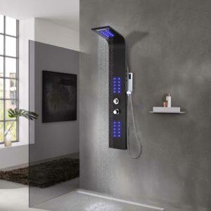 Coluna de duche em alumínio 20x44x130 cm preto - PORTES GRÁTIS