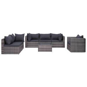 7 pcs sofás de jardim c/ almofadões+almofadas vime PE cinzento - PORTES GRÁTIS