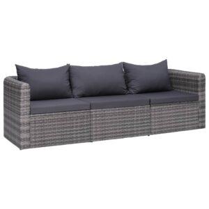 3 pcs conjunto sofás de jardim c/ almofadões vime PE cinzento - PORTES GRÁTIS
