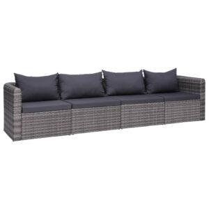 4 pcs conjunto sofás de jardim c/ almofadões vime PE cinzento - PORTES GRÁTIS