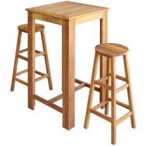 Conjunto mesa e bancos de bar 3 pcs madeira de acácia maciça - PORTES GRÁTIS