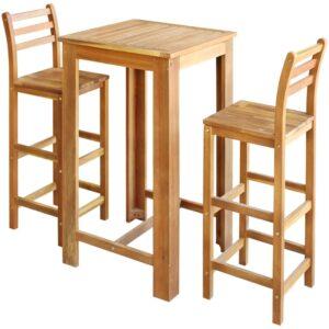 Conjunto mesa e cadeiras de bar 3 pcs madeira de acácia maciça - PORTES GRÁTIS