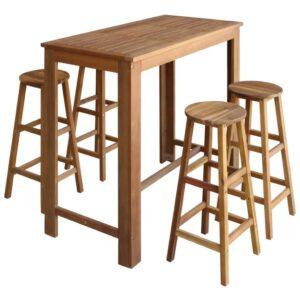 Conjunto mesa e bancos de bar 5 pcs madeira de acácia maciça - PORTES GRÁTIS