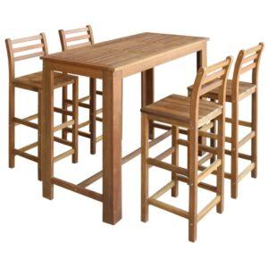 Conjunto mesa e cadeiras de bar 5 pcs madeira de acácia maciça - PORTES GRÁTIS
