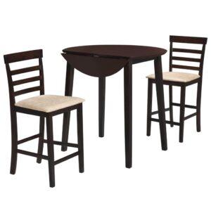 Mesa e cadeiras de bar 3 pcs madeira maciça castanho escuro - PORTES GRÁTIS