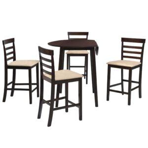 Mesa e cadeiras de bar 5 pcs madeira maciça castanho escuro - PORTES GRÁTIS