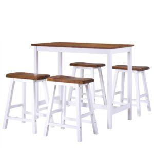 Conjunto mesa e bancos de bar 5 pcs madeira maciça - PORTES GRÁTIS