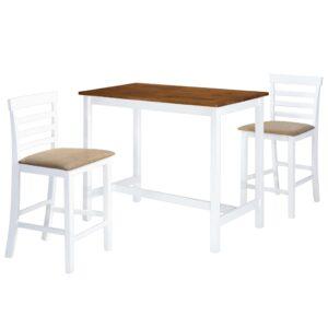 Mesa e cadeiras de bar 3 pcs madeira maciça castanho e branco - PORTES GRÁTIS