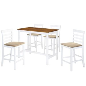 Mesa e cadeiras de bar 5 pcs madeira maciça castanho e branco - PORTES GRÁTIS