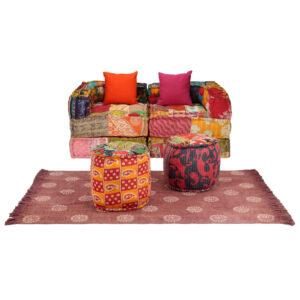 Conjunto de sofás modulares 9 pcs retalhos de tecido - PORTES GRÁTIS
