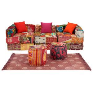 Conjunto de sofás modulares 12 pcs retalhos de tecido - PORTES GRÁTIS