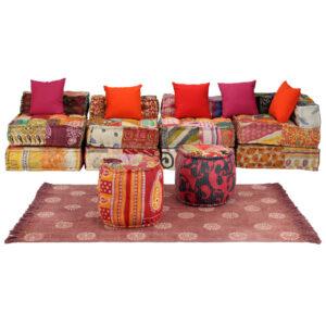 Conjunto de sofás modulares 16 pcs retalhos de tecido - PORTES GRÁTIS