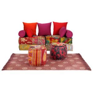 Conjunto de sofás modulares 14 pcs retalhos de tecido - PORTES GRÁTIS