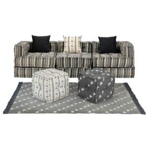 Conjunto de sofás modulares 12 pcs tecido às riscas - PORTES GRÁTIS