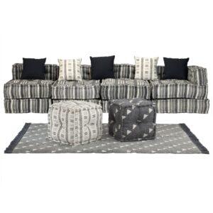 Conjunto de sofás modulares 16 pcs tecido às riscas - PORTES GRÁTIS