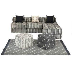 Conjuto de sofás modulares 14 pcs tecido às riscas - PORTES GRÁTIS