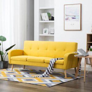 Sofá de 3 lugares em tecido amarelo  - PORTES GRÁTIS