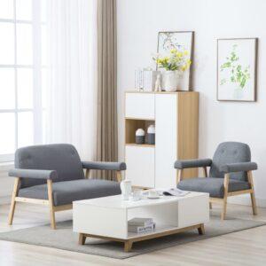 Conjunto de sofás para 3 pessoas 2 pcs tecido cinzento claro - PORTES GRÁTIS