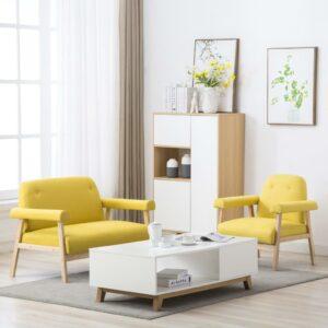Conjunto de sofás para 3 pessoas 2 pcs tecido amarelo - PORTES GRÁTIS