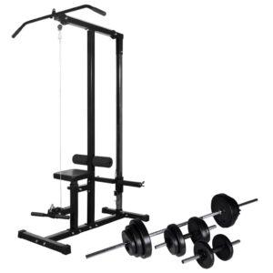 Torre musculação com conjunto barras e halteres 30,5 kg - PORTES GRÁTIS