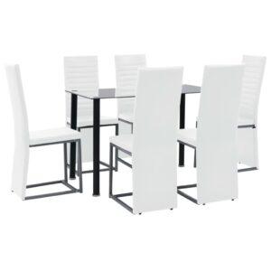 Conjunto de jantar 7 pcs aço e vidro temperado preto/branco - PORTES GRÁTIS