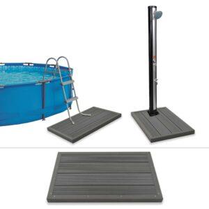 Estrado para chuveiro solar/escada de piscina em WPC - PORTES GRÁTIS
