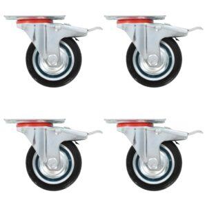 Rodas giratórias com travões duplos 4 pcs 75 mm - PORTES GRÁTIS