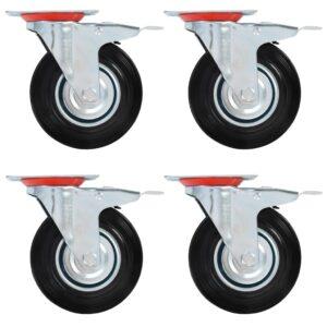 Rodas giratórias com travões duplos 4 pcs 125 mm - PORTES GRÁTIS