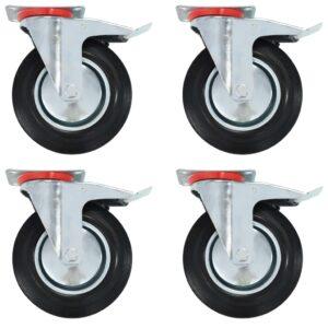 Rodas giratórias com travões duplos 4 pcs 200 mm  - PORTES GRÁTIS