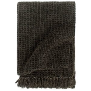 Manta em algodão 160x210 cm antracite/castanho - PORTES GRÁTIS