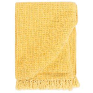 Manta em algodão 220x250 cm amarelo mostarda  - PORTES GRÁTIS