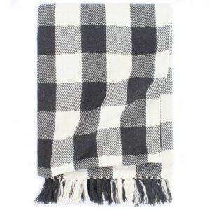 Manta em algodão 220x250 cm xadrez antracite - PORTES GRÁTIS