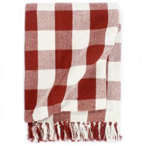 Manta em algodão 220x250 cm xadrez vermelho - PORTES GRÁTIS