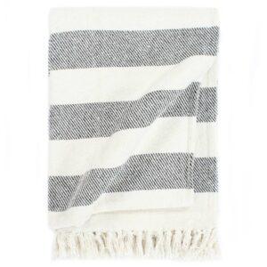 Manta em algodão 220x250 cm riscas antracite - PORTES GRÁTIS