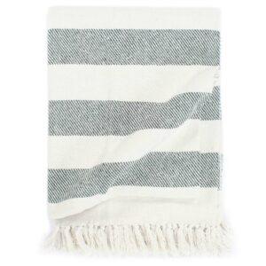 Manta em algodão 160x210 cm riscas verde-escuro - PORTES GRÁTIS