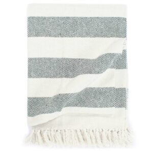 Manta em algodão 220x250 cm riscas verde-escuro - PORTES GRÁTIS