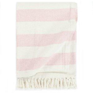 Manta em algodão 220x250 cm riscas rosa velho  - PORTES GRÁTIS