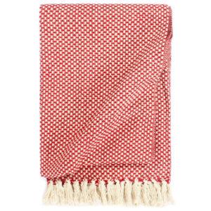 Manta em algodão 160x210 cm vermelho  - PORTES GRÁTIS